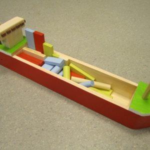 speelgoed houten speelgoedboot met blokken