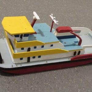 Speelgoed houten duwboot groot (35 x 18 cm)