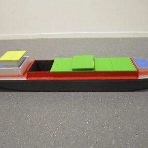 Speelgoed houten binnenvaartschip middelgroot
