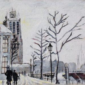 Kaart van Hoop | Adriaan 18 | Dordrecht Grote Kerk in de sneeuw