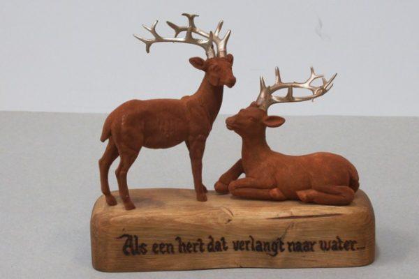 houten blok met herten met tekst als een hert dat verlangt naar water
