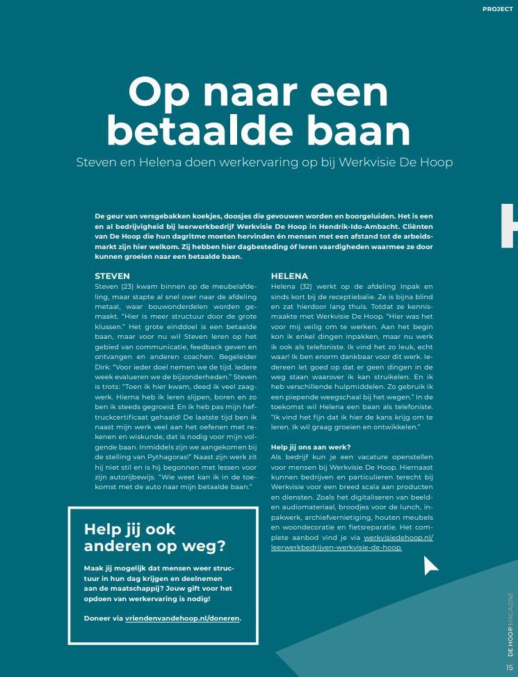 De Hoop Magazine Werkervaring 2021 bb