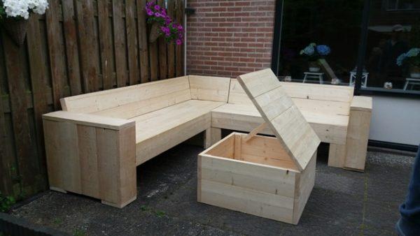 Houten loungeset van steigerhout: hoekbank, tuintafel, bank, hokker, stoel - De Hoop Meubelmakerij